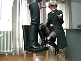 Milf in patent thigh boots cum