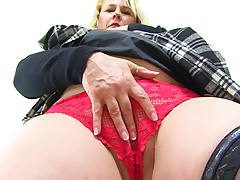 English milf Michelle lowers her red knickers