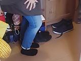 Cute blondie girl's boots cummed 3 - she wears them!