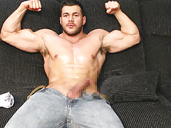 Ripped Muscle Man Jerking Off In Jeans