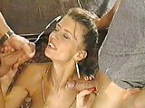 brunette enjoys big cumshot facial + friendly fire cumshot