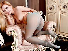 Cute petite blonde strips and wanks in sexy nylon pantyhose