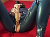Latex Danielle in blue catsuit
