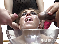 Premium Bukkake - Nona Swallows 50 Huge Mouthful Cum Loads