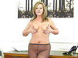 UK milf Silky Thighs Lou doesn't wear knickers at the office