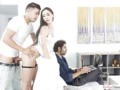 VIRTUAL TABOO - Sexy sister gets cock while daddy does not see
