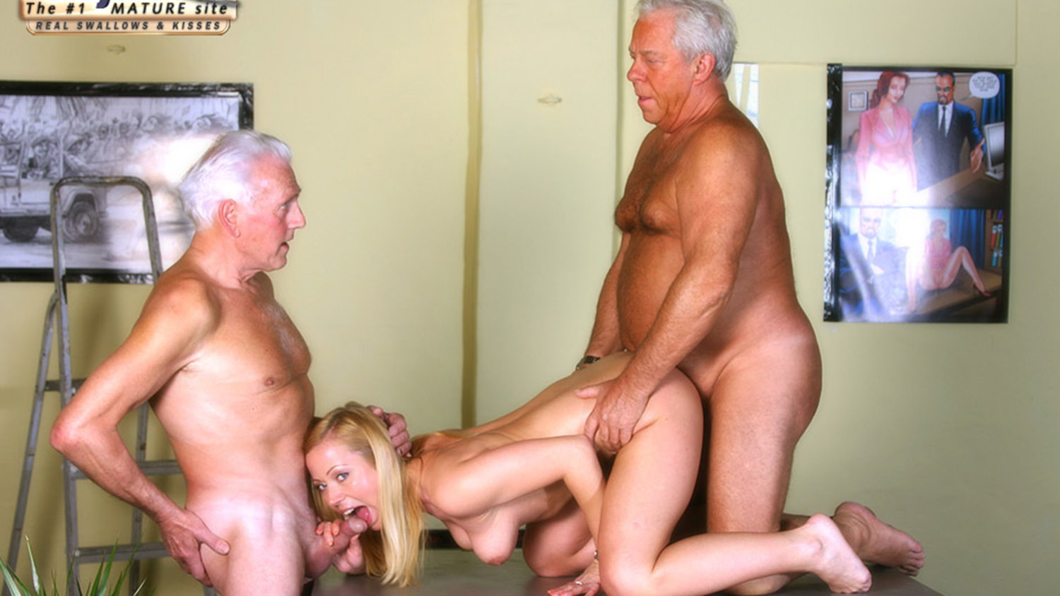 White haired grandpa fucks his dummy young maid 2