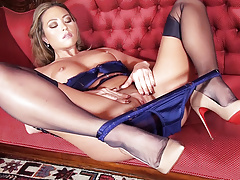 Hot blonde in heels lingerie nylons before pantie pussy play