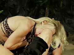 Busty whores Michelle and Cindy fuck outdoors in leopard bikinis