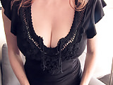 Redhead wife teases in tight b