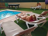 Lisa wiggling it around the pool