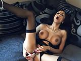 Ebony big tits slut fucks pussy in nylons lingerie and heels