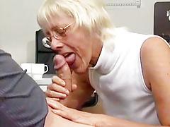 Granny Takes Huge Cock In Office