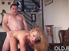 Grandpa fucks beautiful young girlfriend pussy mouthful of c