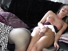 Blonde shemale wanks big cock before cuming on hot nylon ass
