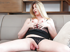 TS VR Porn-Small Tits Blonde Milf masturbating and ass play