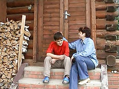 Russian Auntie And Nephew's buddy