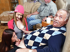 Petite Teen Gigi Flamez and Sally Squirt Fuck Grandpa