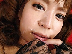 Sexy ass Asian babe sucking two hard dicks