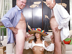 Victoria Valencia Gives Blowjob To Old Men