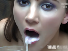 Premium Bukkake - Michelle swallows 71 huge mouthful cumshot