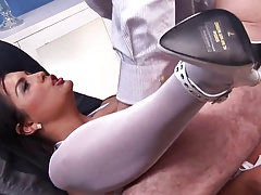 Paul Chaplin gets his cock blown by gorgeous Jasmine Black
