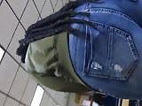 Ebony fat ass in jeans in front of me