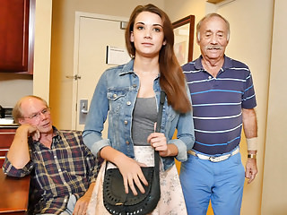 Teen Naomi Alice Has Threesome With Grandpas