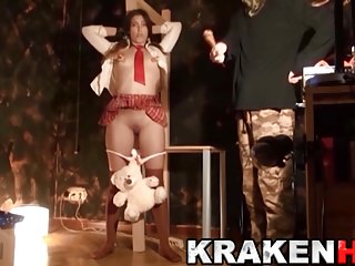Krakenhot - Obedient schoolgirl in her first BDSM casting