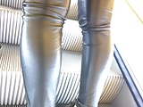 Great legs in shiny leather pants - 38 - close up