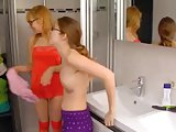Two Girls Fingering Together In The Bathroom