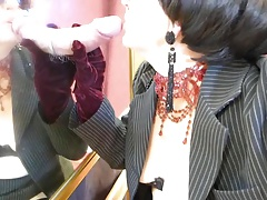 Office Milf Thigh Boots At The Mirror Glory Hole