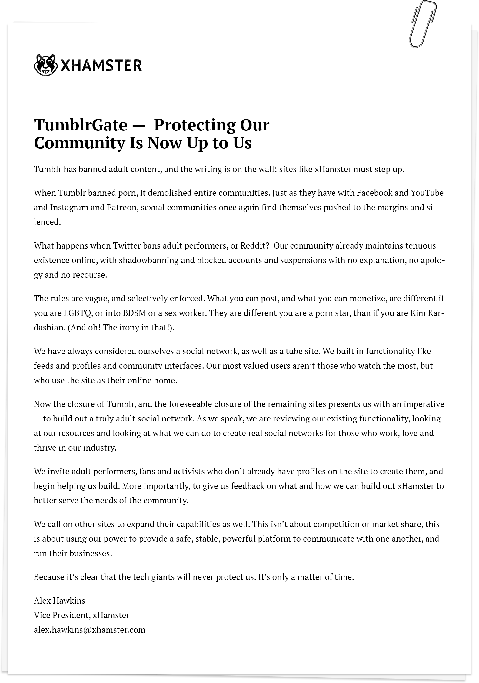 #TumblrGate Statement