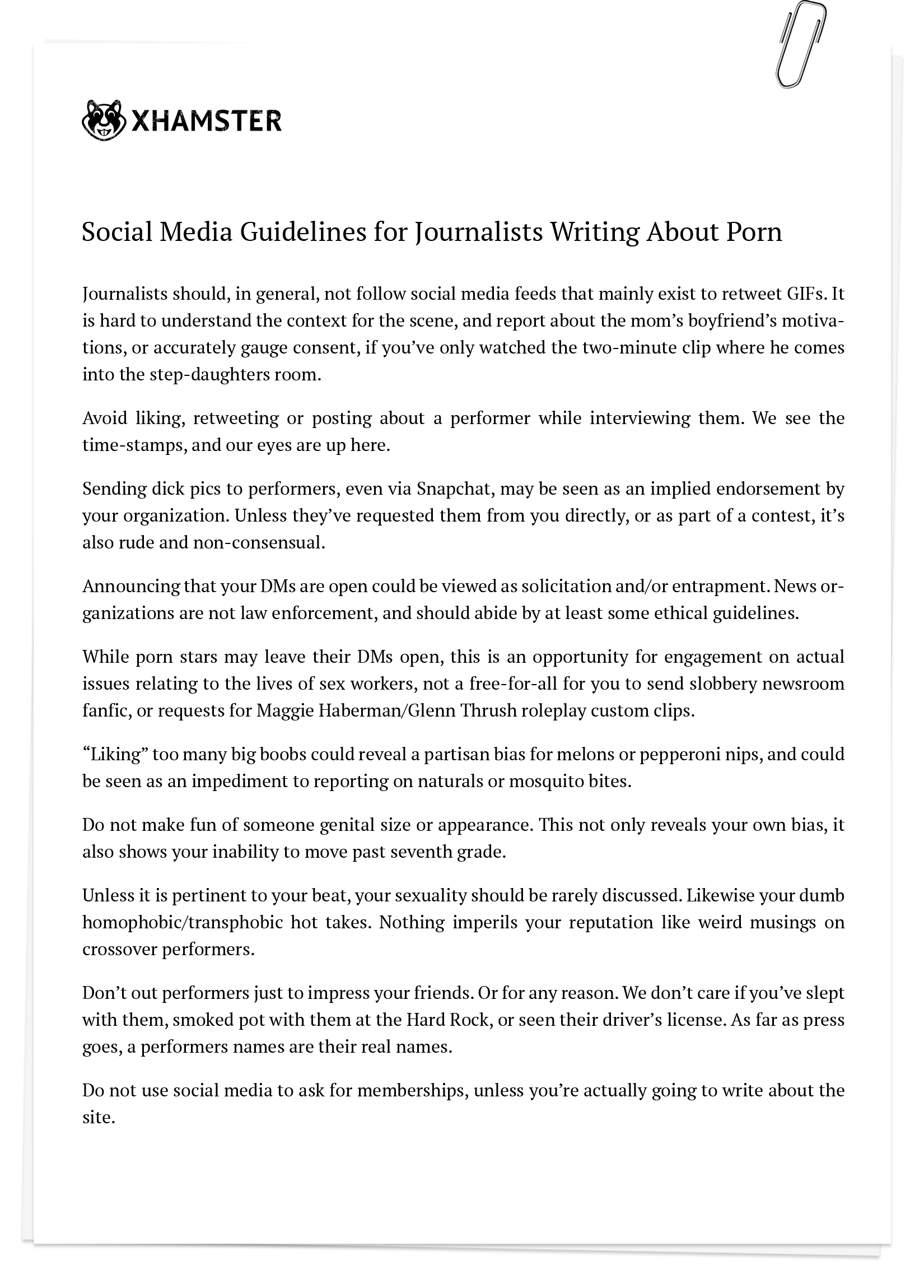 Social Media Guidelines for Journalists